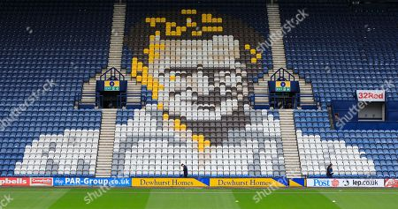 5th October 2019, Deepdale, Preston, England; Sky Bet Championship, Preston North End v Barnsley : The Sir Tom Finney mosaic in the grandstand Credit: Conor Molloy/News Images