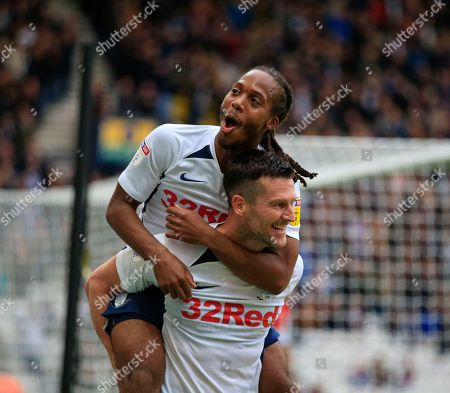 5th October 2019, Deepdale, Preston, England; Sky Bet Championship, Preston North End v Barnsley : Daniel Johnson (11) of Preston North End celebrates with David Nugent (35) after scoring the third goal in the 61st minute, 3-1 to Preston Credit: Conor Molloy/News Images