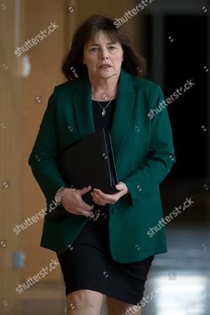 Stock Photo of Scottish Parliament First Minister's Questions - Jeane Freeman, Cabinet Secretary for Health and Sport, makes her way to the Debating Chamber.