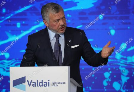 Jordan's King Abdullah II delivers a speech at a plenary session entitled 'The World Order Seen From the East'  during the Valdai International Discussion Club meeting in the Black sea resort of Sochi, Russia, 03 October 2019. The the Valdai Discussion Club annual meeting titled The Dawn of the East and the World Political Order  takes place from 30 September to 03 October.