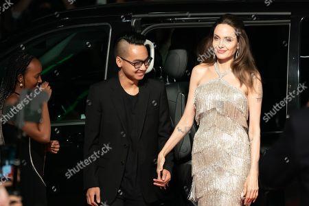 Zahara Jolie-Pitt, Maddox Jolie-Pitt and Angelina Jolie