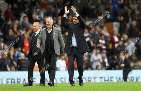Kit Symons and Chris Coleman on the pitch at half time