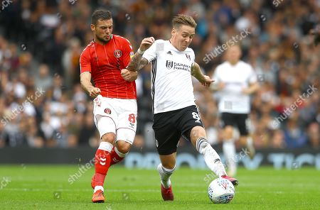Stock Photo of Jake Forster-Caskey of Charlton Athletic and Stefan Johansen of Fulham in action