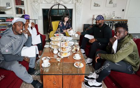 Oakland Raiders  Defensive players Tahir Whitehead,Karl Joseph,Maurice Hurst and Johnathan Hankins  take afternoon  tea