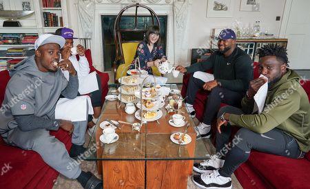 Oakland Raiders Defensive players Tahir Whitehead, Karl Joseph, Maurice Hurst and Johnathan Hankins take afternoon tea