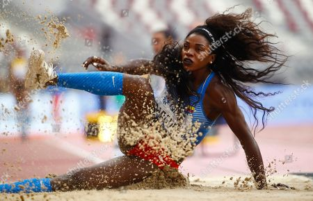 Caterine Ibarguen of Colombia competes in the women's Triple Jump qualification during the IAAF World Athletics Championships 2019 at the Khalifa Stadium in Doha, Qatar, 03 October 2019.