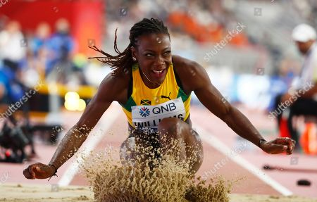 Kimberly Williams of Jamaica competes in the women's Triple Jump qualification during the IAAF World Athletics Championships 2019 at the Khalifa Stadium in Doha, Qatar, 03 October 2019.