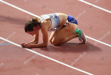 Stock Photo of Sarah McDonald of Britain reacts after competing in the women's 1,500m semi finals at the IAAF World Athletics Championships 2019 at the Khalifa Stadium in Doha, Qatar, 03 October 2019.