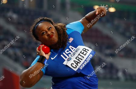 Michelle Carter of the USA competes in the women's Shot Put final during the IAAF World Athletics Championships 2019 at the Khalifa Stadium in Doha, Qatar, 03 October 2019.