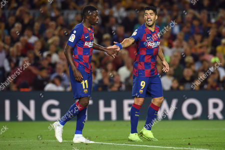 Luis Suarez of FC Barcelona and Ousmane Dembele of FC Barcelona