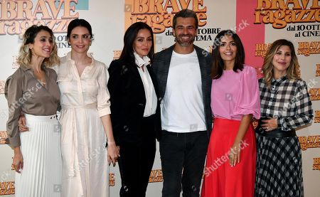 Silvia D'Amico, Ilenia Pastorelli, Ambra Angiolini, Luca Argentero, Serena Rossi and Italian director and actress Michela Andreozzi pose during the photocall for ''Brave ragazze'' in Rome, Italy, 03 October 2019. The movie opens in Italian theaters on 10 October.