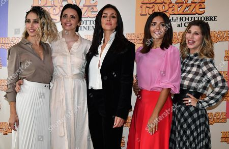 Silvia D'Amico, Ilenia Pastorelli, Ambra Angiolini, Serena Rossi and Italian director and actress Michela Andreozzi pose during the photocall for ''Brave ragazze'' in Rome, Italy, 03 October 2019. The movie opens in Italian theaters on 10 October.