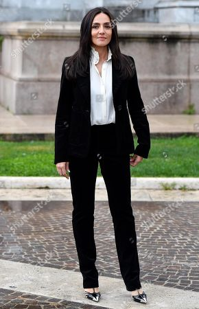 Ambra Angiolini poses during a photo call for the movie 'Brave ragazze' in Rome, Italy, 03 October 2019. The film will be shown Italian movie theaters from 10 October 2019 on.