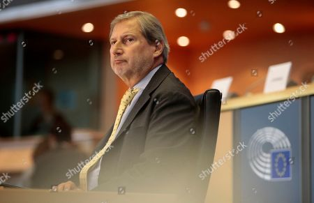 Johannes Hahn, European Commissioner-designate for Budget and Administration, attends his hearing before the European Parliament in Brussels, Belgium, 03 October 2019. MEPs from various committees are hearing the proposed members of Commission President-elect von der Leyen's. Commissioners have to be approved by the parliament following parliamentary vetting process.