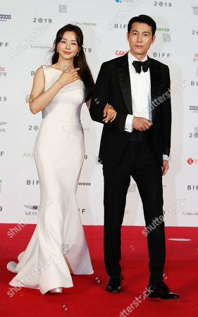 South Korean actors Lee Ha-nee (L) and Jung Woo-sung (R) arrive for the opening ceremony of the 24th Busan International Film Festival (BIFF) plaza in Busan, South Korea, 03 October 2019. The BIFF will screen 303 films from 85 countries and will runs from 03 to 12 October 2019.