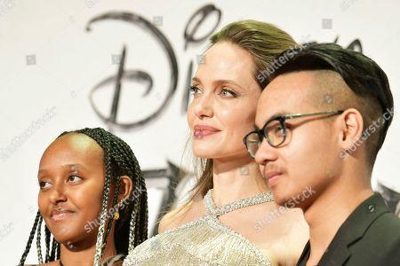 Stock Picture of Angelina Jolie with Zahara Jolie-Pitt and Maddox