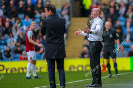 5th October 2019, Turf Moor, Burnley, England; Premier League, Burnley v Everton : Sean Dyche manager of Burnley remonstrates with referee Graham Scott