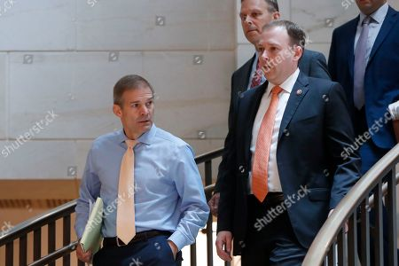Jim Jordan, Lee Zeldin. Rep. Jim Jordan, R-Ohio, left, and Rep. Lee Zeldin, R-NY., right, arrive for a closed-door interview of Kurt Volker, a former special envoy to Ukraine, with House investigators, as House Democrats proceed with the impeachment inquiry of President Donald Trump, at the Capitol in Washington