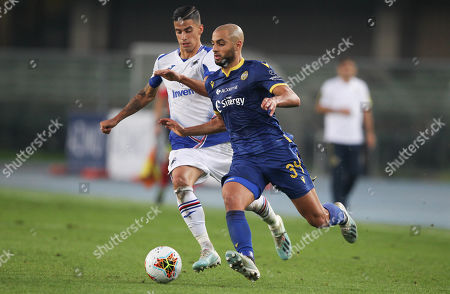 Verona's Sofyan Amrabat and Sampdoria's Fabio De Paoli.