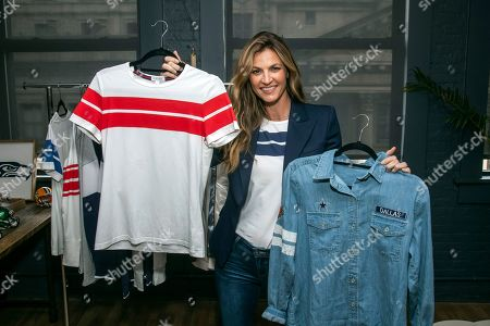 WEAR creator Erin Andrews shows off the Crew Neck T-Shirt and Denim Shirt at her preview event, in New York