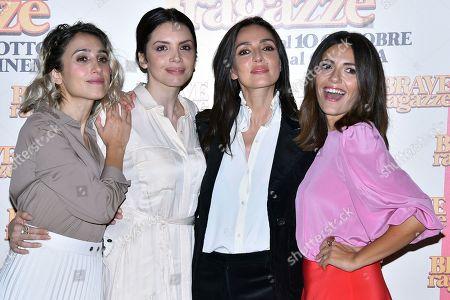 Silvia D'Amico with Ilenia Pastorelli, Ambra Angiolini and Serena Rossi