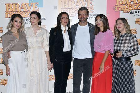 Silvia D'Amico with Ilenia Pastorelli, Ambra Angiolini, Luca Argentero, Serena Rossi and Michela Andreozzi