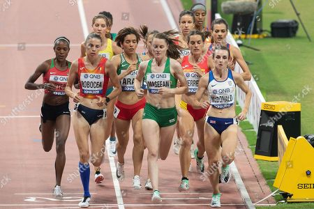 Claudia Mihaela Bobocea (Romania), Ciara Mageean (Republic of Ireland), Sarah McDonald (Great Britain), 1500 Metres Women, Semi-Final Heat 1, during the 2019 IAAF World Athletics Championships at Khalifa International Stadium, Doha