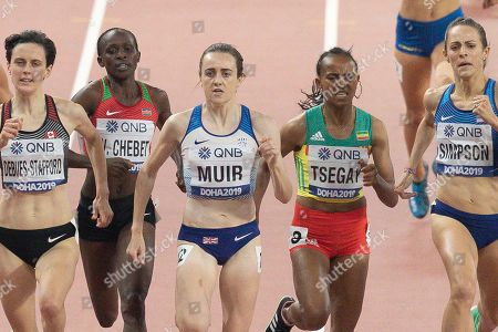Stock Picture of Gabriella Debues-Stafford (Canada), Winny Chebet (Kenya), Laura Muir (Great Britain), Gudaf Tsegay (Ethiopia), Jenny Simpson (USA), 1500 Metres Women, Semi-Final Heat 2, during the 2019 IAAF World Athletics Championships at Khalifa International Stadium, Doha