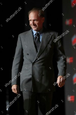 "Stock Picture of Ralph Fiennes on stage during the 20th Century Fox Panel: An Insider's Look at ""The King's Man"" and ""Free Guy"" on the first day of New York Comic Con, in New York"