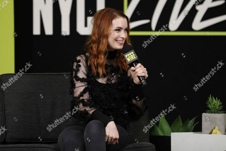 Felicia Day speaks on stage on the first day of New York Comic Con, in New York