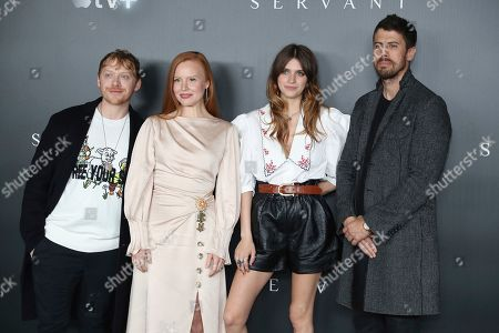 "From left, Rupert Grint, Lauren Ambrose, Nell Tiger Free, and Toby Kebbell pose for a photo before the ""A Night with M. Night: Introducing Servant on Apple TV+"" panel at Hammerstein Ballroom on the first day of New York Comic Con, in New York"