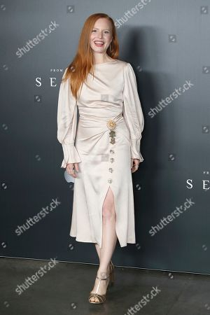 """Lauren Ambrose poses for a photo before the """"A Night with M. Night: Introducing Servant on Apple TV+"""" panel at Hammerstein Ballroom on the first day of New York Comic Con, in New York"""