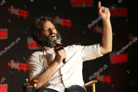 """Jason Mantzoukas speaks on stage during the """"Netflix Presents: Big Mouth"""" panel at the Javits Center on the first day of New York Comic Con, in New York"""