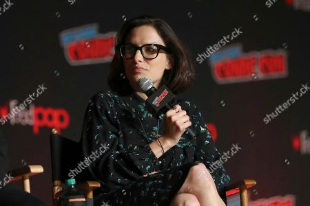 "Jessi Klein speaks on stage during the ""Netflix Presents: Big Mouth"" panel at the Javits Center on the first day of New York Comic Con, in New York"