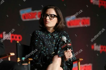 """Stock Image of Jessi Klein speaks on stage during the """"Netflix Presents: Big Mouth"""" panel at the Javits Center on the first day of New York Comic Con, in New York"""