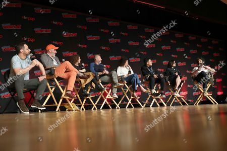 "From left, Nick Kroll, Mark Levin, Jennifer Flackett, Andrew Goldberg, Emily Altman, Jaboukie Young-White, Jessi Klein and Jason Mantzoukas speak on stage during the ""Netflix Presents: Big Mouth"" panel at the Javits Center on the first day of New York Comic Con, in New York"