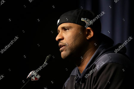 Stock Picture of New York Yankees pitcher CC Sabathia talks to reporters at Yankee Stadium, in New York. The Yankees will host the Minnesota Twins in the first game of an American League Division Series on Friday