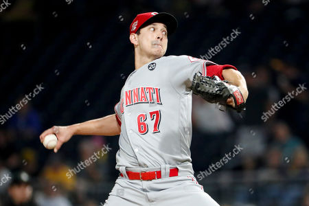 Cincinnati Reds relief pitcher Matt Bowman (67) plays against the Pittsburgh Pirates in a baseball game, in Pittsburgh