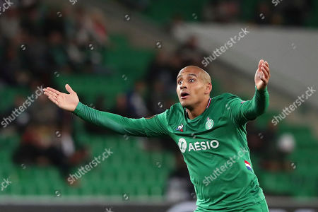 Saint-Etienne's Wahbi Khazri reacts to a call during the Europa League group I soccer match between Saint-Etienne and VfL Wolfsburg at the Geoffroy Guichard stadium, in Saint-Etienne, central France