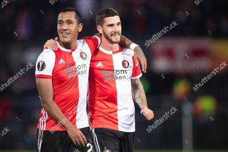 Renato Tapia (L) and Marcos Senesi of Feyenoord Rotterdam after the UEFA Europa League group G match Feyenoord Rotterdam vs FC Porto in Rotterdam, The Netherlands, 03 October 2019.