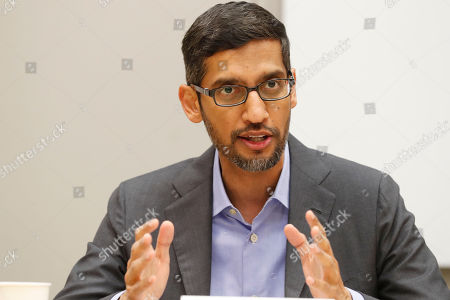 Stock Image of Google CEO Sundar Pichai speaks during a visit to El Centro College in Dallas