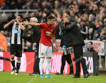 Manchester United manager Ole Gunnar Solskjaer gets in heated debate with Andreas Pereira of Manchester United after conceding a goal to Newcastle United