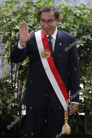 Stock Picture of Peruvian President Martin Vizcarra participates during the inauguration ceremony of his new cabinet at the Government Palace in Lima, Peru, 03 October 2019. Members of the new cabinet were sworn into office in the midst of the country's political crisis over the dissolution of Parliament by Vizcarra.
