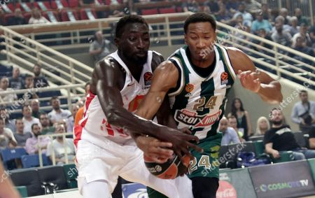 Wesley Johnson of Panathinaikos (R) challenge for the ball against Mouhamed Faye of Crvena Zvezda mts Belgrade during the Euroleague regular season basketball game between Panathinaikos and Crvena Zvezda mts Belgrade held at OAKA in Athens, Greece, 03 October 2019.
