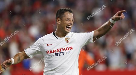 Sevilla FC's Javier 'Chicharito' Hernandez celebrates after scoring during the UEFA Europa League Group A soccer match between Sevilla FC and Apoel FC at the Sanchez Pizjuan stadium in Seville, Spain, 03 October 2019.