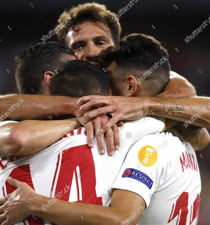 Sevilla FC's Javier 'Chicharito' Hernandez (C) celebrates with teammates after scoring during the UEFA Europa League Group A soccer match between Sevilla FC and Apoel FC at the Sanchez Pizjuan stadium in Seville, Spain, 03 October 2019.