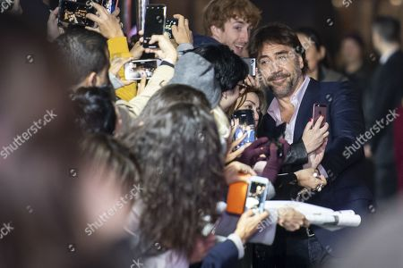 Spanish actor and environmental activist Javier Bardem poses for selfies on the Green Carpet during the 15th Zurich Film Festival (ZFF) in Zurich, Switzerland, 03 October 2019. The festival runs from 26 September to 06 October 2019.