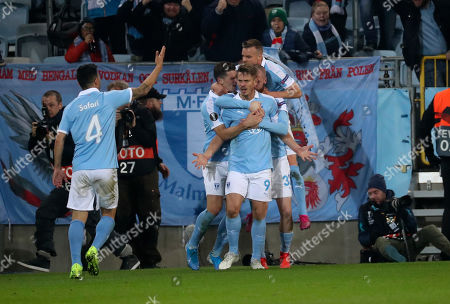Malmo's Markus Rosenberg (C) celebrates scoring during the UEFA Europa League group B soccer match between Malmo FF and FC Copenhagen at Malmo New Stadium in Malmo, Sweden, 03 October 2019.