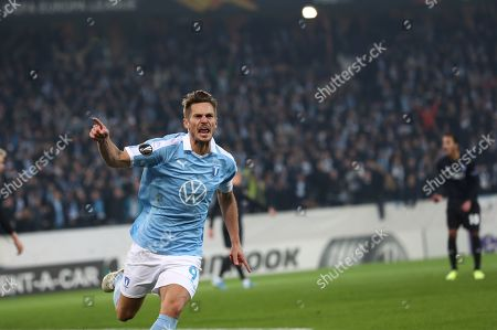 Malmo's Markus Rosenberg celebrates scoring during the UEFA Europa League group B soccer match between Malmo FF and FC Copenhagen at Malmo New Stadium in Malmo, Sweden, 03 October 2019.