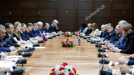 Dmitri Medvedev, Miguel Diaz-Canel. A Russian delegation led by Prime Minister Dmitri Medvedev meets with Cuban President Miguel Diaz-Canel and members of his delegation, in Havana, Cuba, . Medvedev arrived Thursday in Cuba, which was long the former Soviet Union's principal ally in Latin America. The visit is seen by some as confirmation of a new closeness at a time when the island is going through a new economic crisis while under new pressure from the United States
